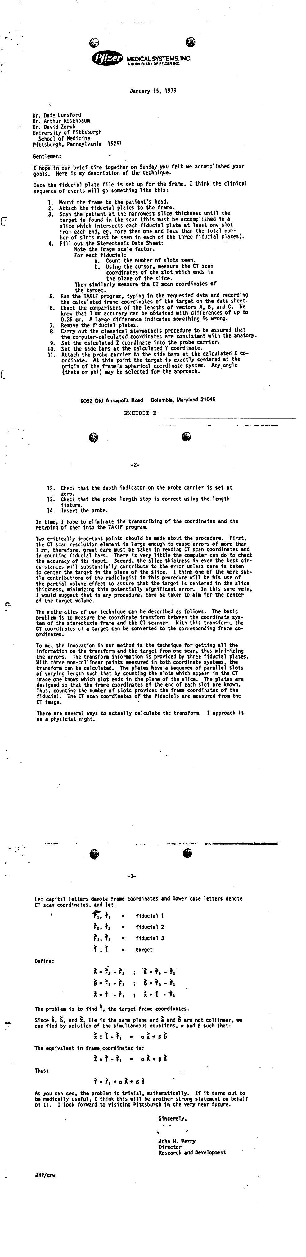 Appendix 1: John Perry Letter, pp. 1-3, January 15, 1979