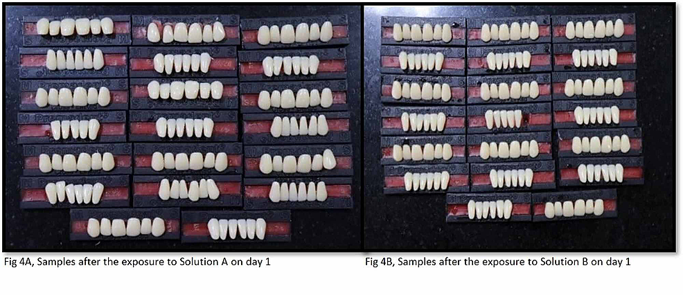 Samples-after-the-exposure-to-denture-cleanser-on-day-1-(group-A,-solution-A-and-group-B,-solution-B)