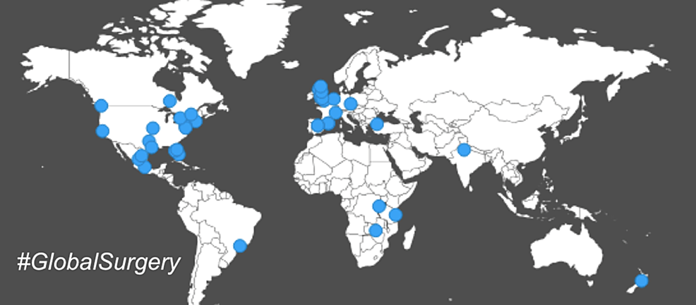 Geographic-location-of-origin-of-tweets-containing-#globalsurgery.-The-blue-dots-depict-the-location-associated-with-Twitter-accounts-using-#globalsurgery.