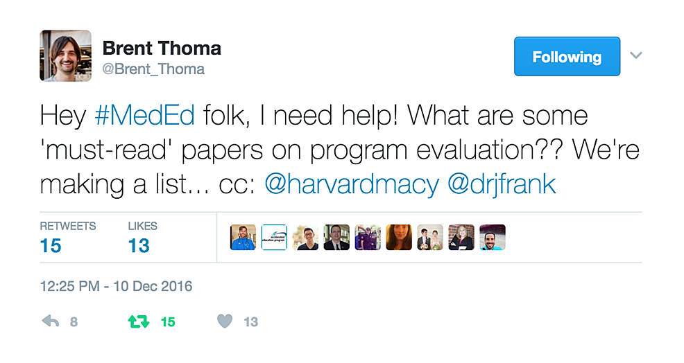Tweet-by-Brent-Thoma-soliciting-requests-for-key-papers-on-program-evaluation-in-medical-education