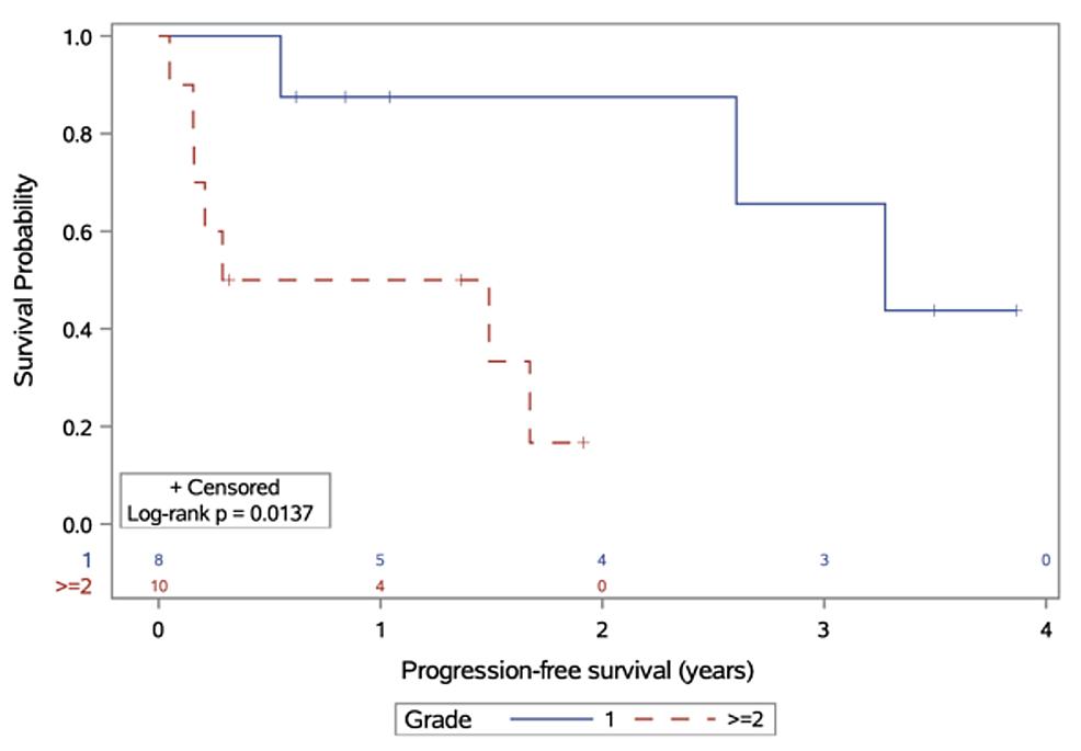 Progression-free-survival,-stratified-by-meningioma-grade-at-diagnosis