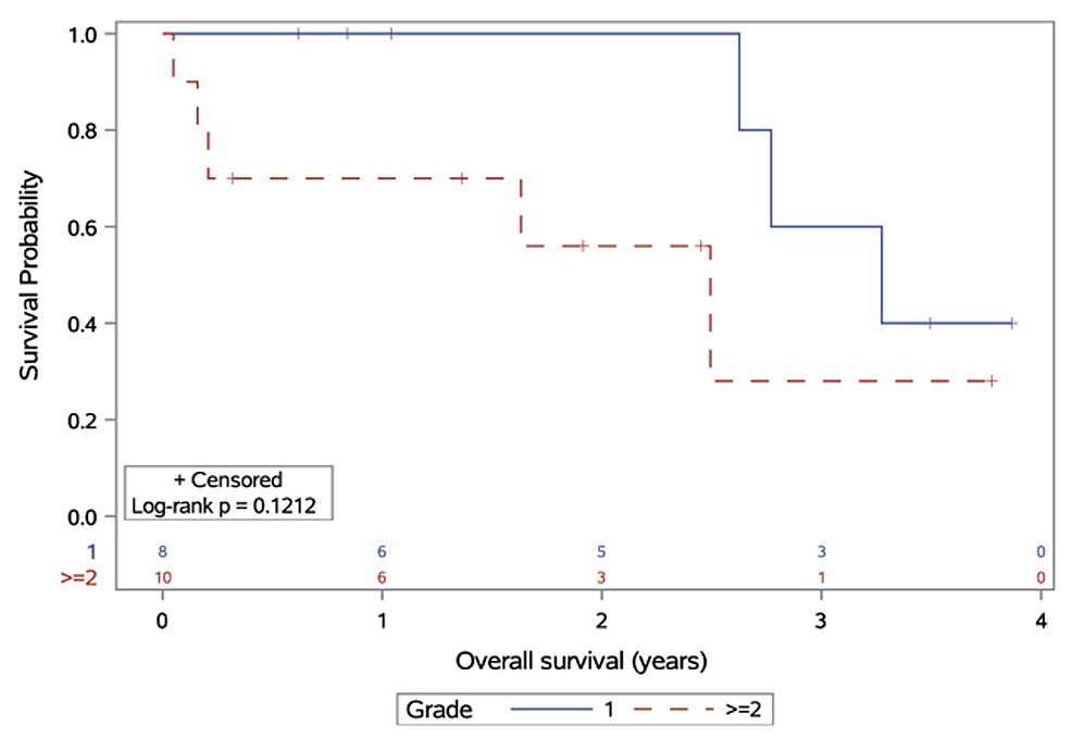 Overall-survival,-stratified-by-meningioma-grade-at-diagnosis