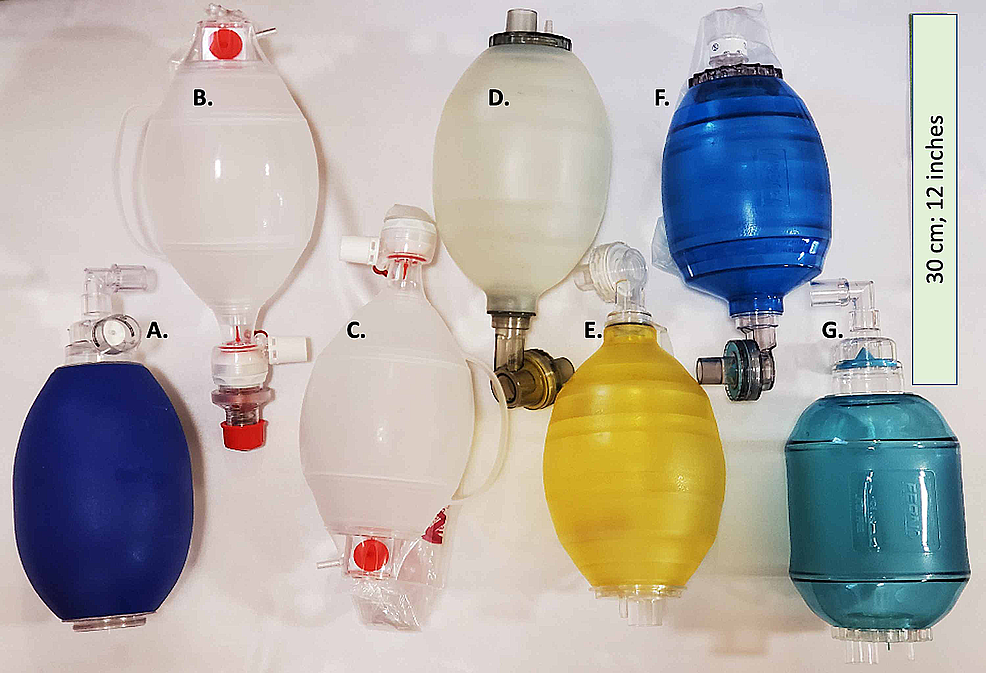 Manual-resuscitator-(BVM)-models-assessed-for-compatibility-with-AMREV.-Shown-from-left-to-right-(A-G)-in-descending-order-in-Table-1.