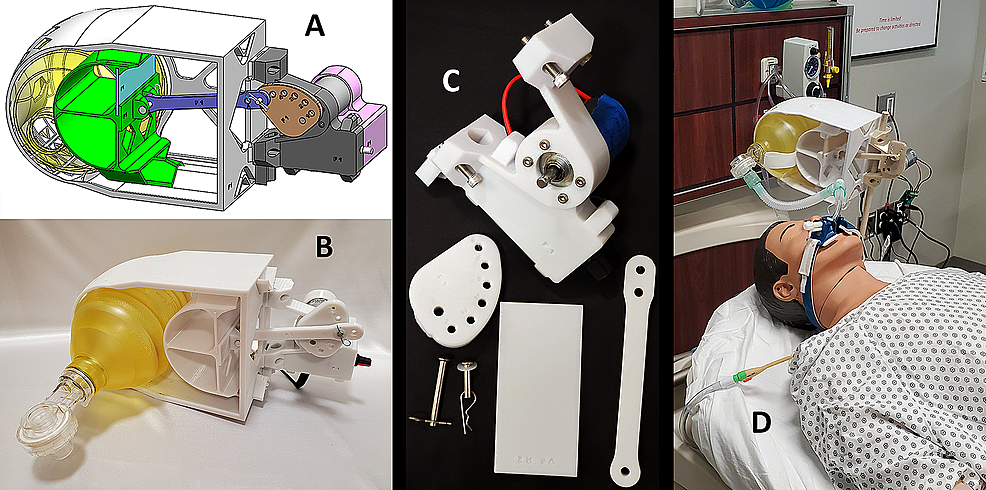 Design-and-function-of-the-3D-printed-AMREV.-A)-Schematic-for-the-device,-B-C)-3D-printed-parts,-and-D)-fully-assembled-prototype-device-shown-on-a-Laerdal-MegaCode-Kelly™-simulation-manikin.