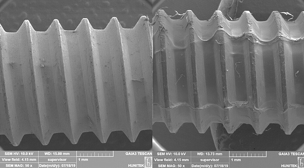 Scanning-electron-microscopic-images-of-(A)-noncoated-and-(B)-coated-medical-screws-(IS-7.5).