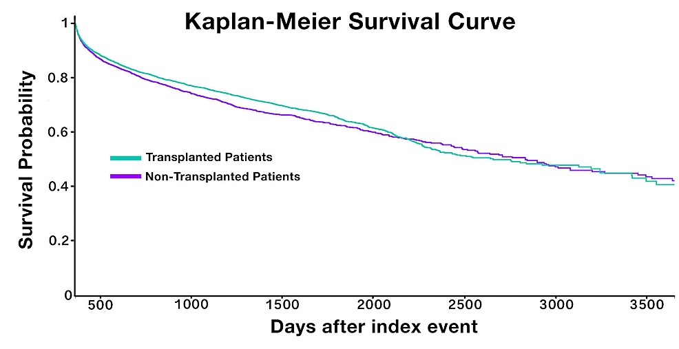 Kaplan-Meier-survival-curve-for-patients-with-and-without-stem-cell-transplant
