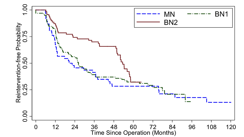 Kaplan-Meier-survival-curve-illustrates-reintervention-free-probability,-by-operative-group,-from-all-patients-who-underwent-endoscopic-transsphenoidal-surgery(ETSS)-for-pituitary-adenoma-at-Ramathibodi-hospital,-with-available-follow-up-(n-=-214).-Log-rank-test-p-value-=-0.066-