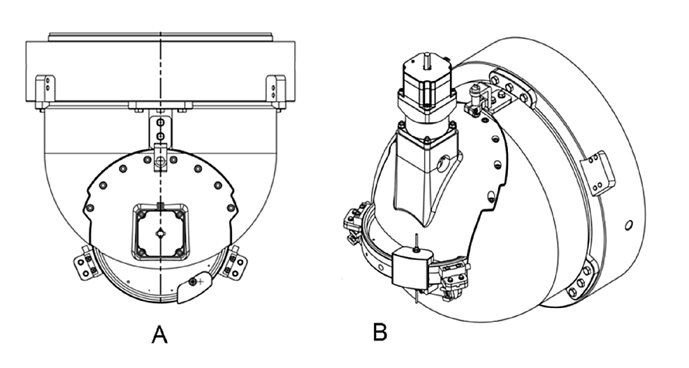 Shielded-collimator-housing-with-mounted-collimator-wheel.-(A)-Viewed-perpendicular-to-the-beam.-(B)-Viewed-oblique-to-the-beam.-Collimator-wheel-is-shown-directly-above-the-letters-A-and-B-in-each-image.