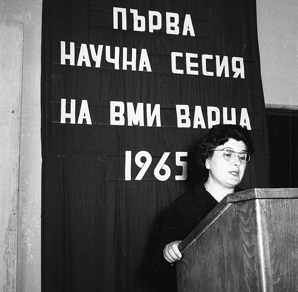 Professor-Zdravka-Kemileva,-1961.-The-photograph-was-taken-during-the-opening-ceremony-of-the-First-Scientific-Meeting-of-HMI-Varna.