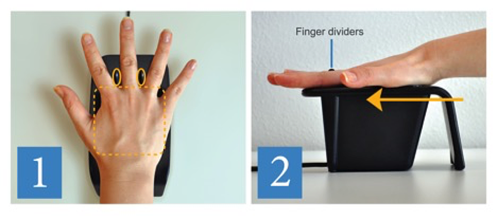 A-hand-placement-guide-next-to-each-palm-vein-scanner-depicting-the-correct-hand-placement.