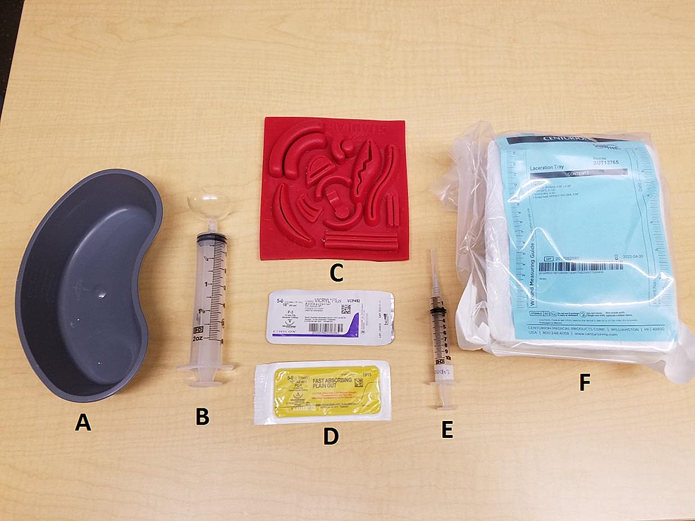Standardized-equipment-set-up-for-simulated-laceration-repair-procedure.