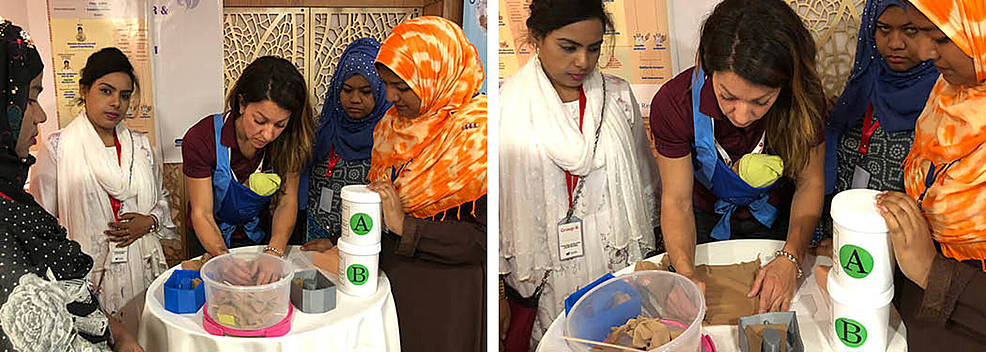 Live-silicone-mixing-and-pouring-demo-during-day-3-of-the-Team-Broken-Earth-training-workshop-in-Dhaka,-Bangladesh.
