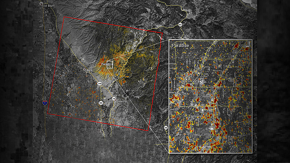 Satellite-image-of-the-damage-to-Paradise,-California-from-the-Camp-Fire-as-of-November-16,-2018.