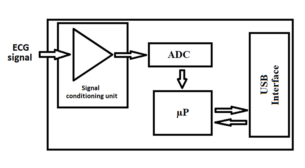 Electronic-module-with-an-ECG-amplifier,-ADC-and-computing-capabilities-and-a-USB-communication-port