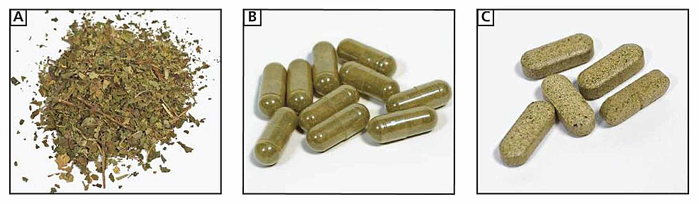 "Images-of-kratom-products-that-can-be-purchased-at-a-""smoke-shop""-in-the-US:-(A)-chopped-leaves,-which-are-typically-brewed-into-""kratom-tea"",-(B)-capsules-containing-finely-chopped-leaves,-and-(C)-compressed-tablets-containing-leaves-or-resin."