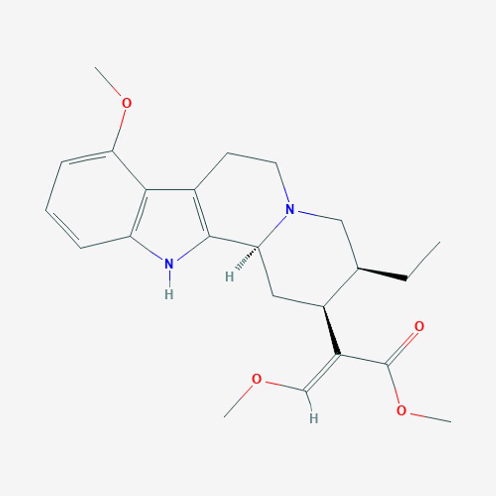 Mitragynine-–-molecular-formula:-C23H30N2O4;-molecular-weight:-398.50-g/mol.
