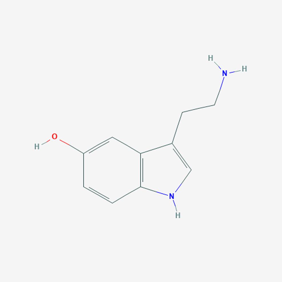 Serotonin-(5-hydroxytryptamine)-–--molecular-formula:-C10H12N2O;-molecular-weight:-176.21-g/mol.