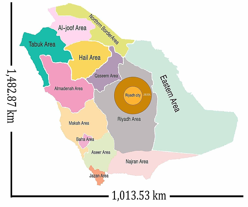 Administrative-regions-of-the-Kingdom-of-Saudi-Arabia-and-the-distance-for-that-region-from-Riyadh-(the-city-of-the-implant-center)