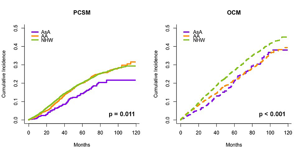 Cumulative-incidence-of-PCSM-(left)-and-OCM-(right)-for-patients-who-received-no-definitive-treatment-stratified-by-race,-calculated-using-the-proportional-hazards-model-described-by-Fine-and-Gray,-accounting-for-OCM-as-a-competing-risk-for-PCSM.