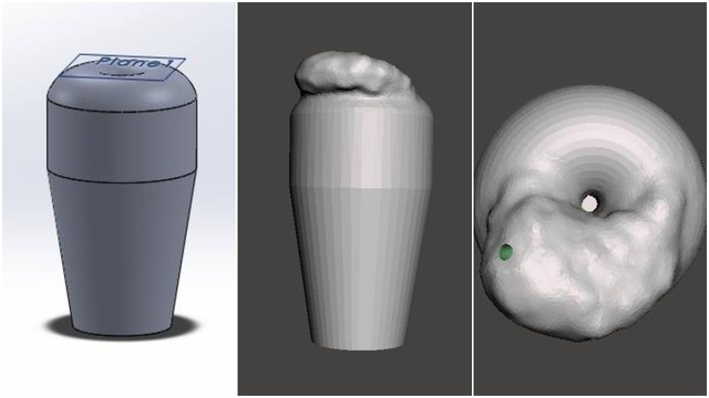 Final-design-of-cervical-model-in-SolidWorks-(left)-and-cervical-design-with-tumor-in-MeshMixer-from-a-side-(center)-and-aerial-view-(right)