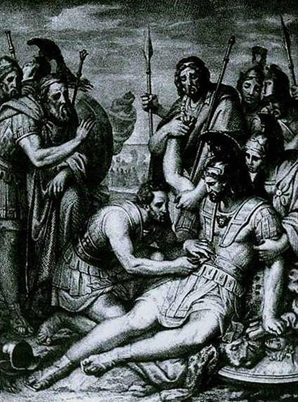 Greek-swordsmen-observe-Machaon-
