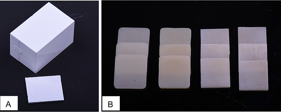A:-Milled-zirconia-block-before-slicing-and-sintering;-B:-The-prepared-specimens-after-crystallization-and-sintering