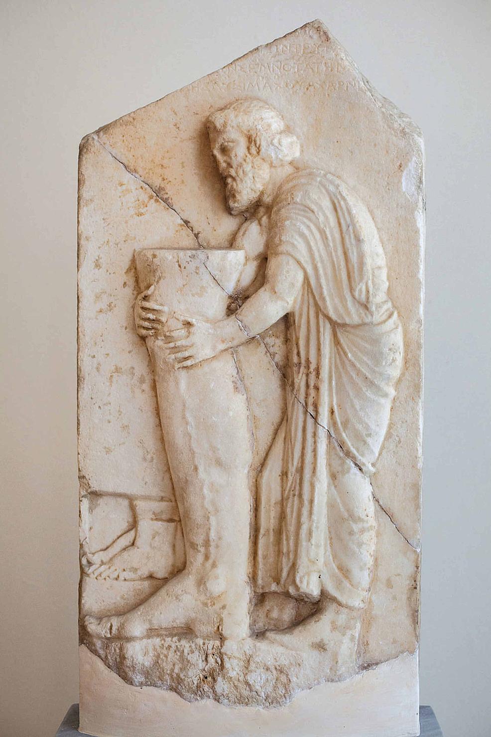 Votive-relief-found-near-Enneakrouno,-Athens