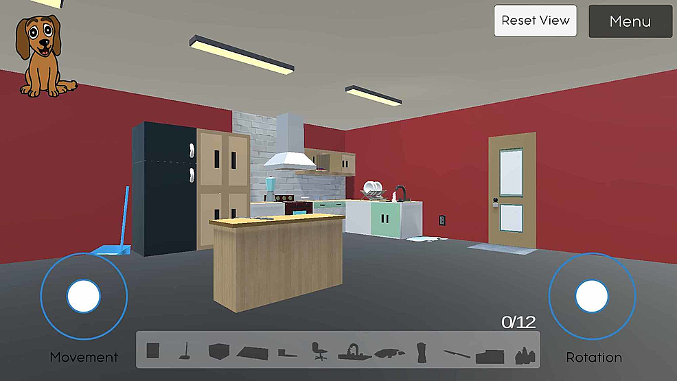 Displays-the-user-interface,-full-kitchen-view-from-a-distance,-and-the-navigation-controls-in-the-SafeHome-eGame